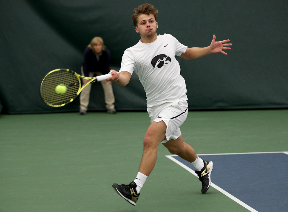 Iowa's Will Davies and Oliver Okonkwo play a doubles match against Cornell Sunday, March 8, 2020 at the Hawkeye Tennis and Recreation Center. (Brian Ray/hawkeyesports.com)