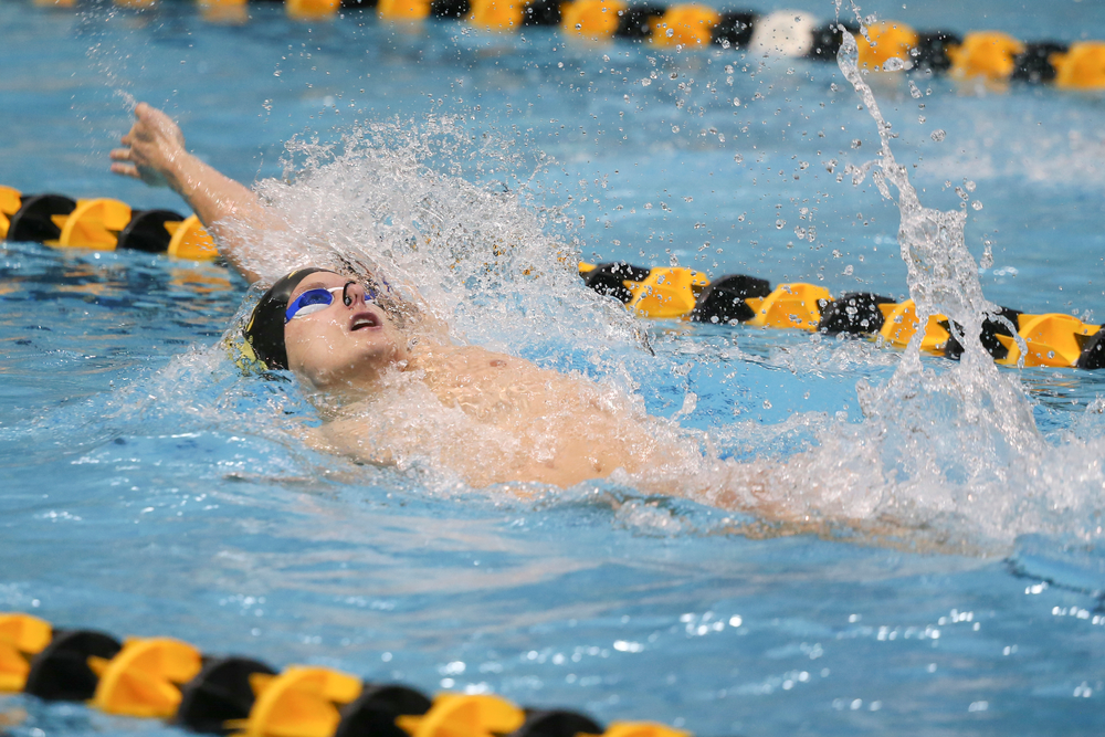 Iowa's Anze Fers Erzen swims the 100-yard backstroke during the Iowa swimming and diving meet vs Notre Dame and Illinois on Saturday, January 11, 2020 at the Campus Recreation and Wellness Center. (Lily Smith/hawkeyesports.com)