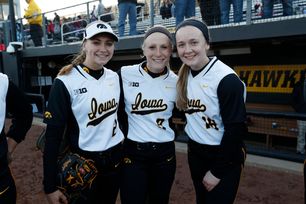 Iowa Hawkeyes infielder Aralee Bogar (2), infielder Sarah Kurtz (9), and catcher Brooke Rozier (16) against Western Illinois Tuesday, April 17, 2018 at Bob Pearl Field. (Brian Ray/hawkeyesports.com)