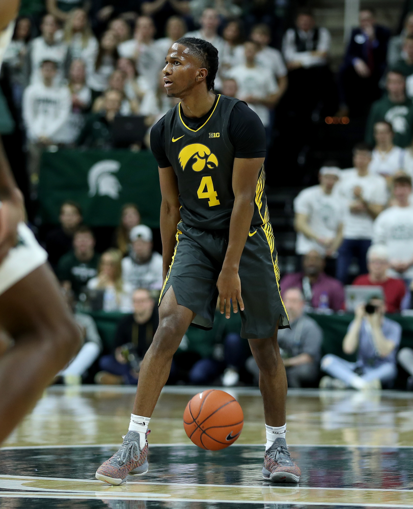 Iowa Hawkeyes guard Bakari Evelyn (4) against Michigan State Tuesday, February 25, 2020 at the Breslin Center in East Lansing, MI. (Brian Ray/hawkeyesports.com)