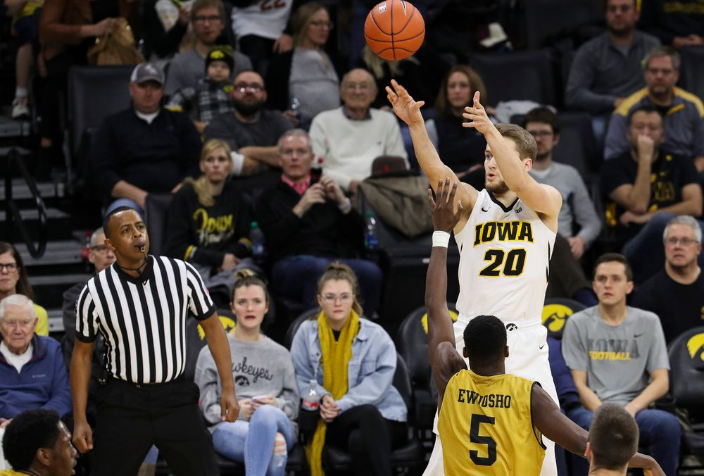Iowa Hawkeyes forward Riley Till (20) shoots the ball during a game against Alabama State at Carver-Hawkeye Arena on November 21, 2018. (Tork Mason/hawkeyesports.com)