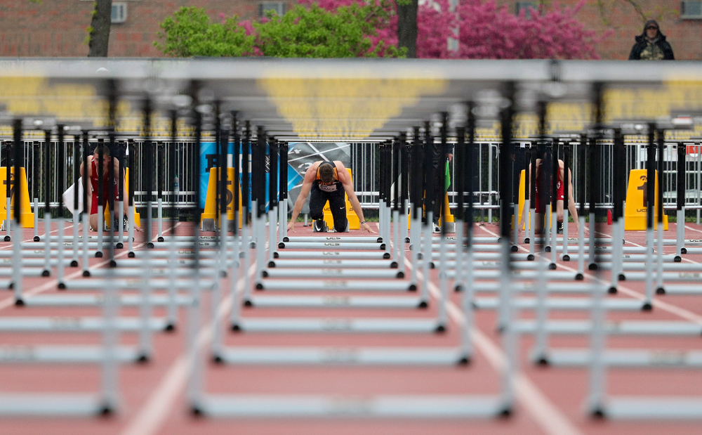 Iowa's Peyton Haack waits in the blocks before the start of the men's 110 meter hurdles in the decathlon event on the second day of the Big Ten Outdoor Track and Field Championships at Francis X. Cretzmeyer Track in Iowa City on Saturday, May. 11, 2019. (Stephen Mally/hawkeyesports.com)