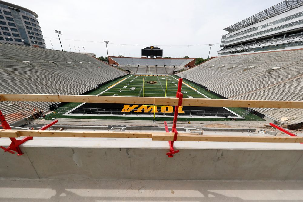 The mid-field view from the outdoor seating on the club level of the north end zone Wednesday, June 6, 2018 at Kinnick Stadium. (Brian Ray/hawkeyesports.com)