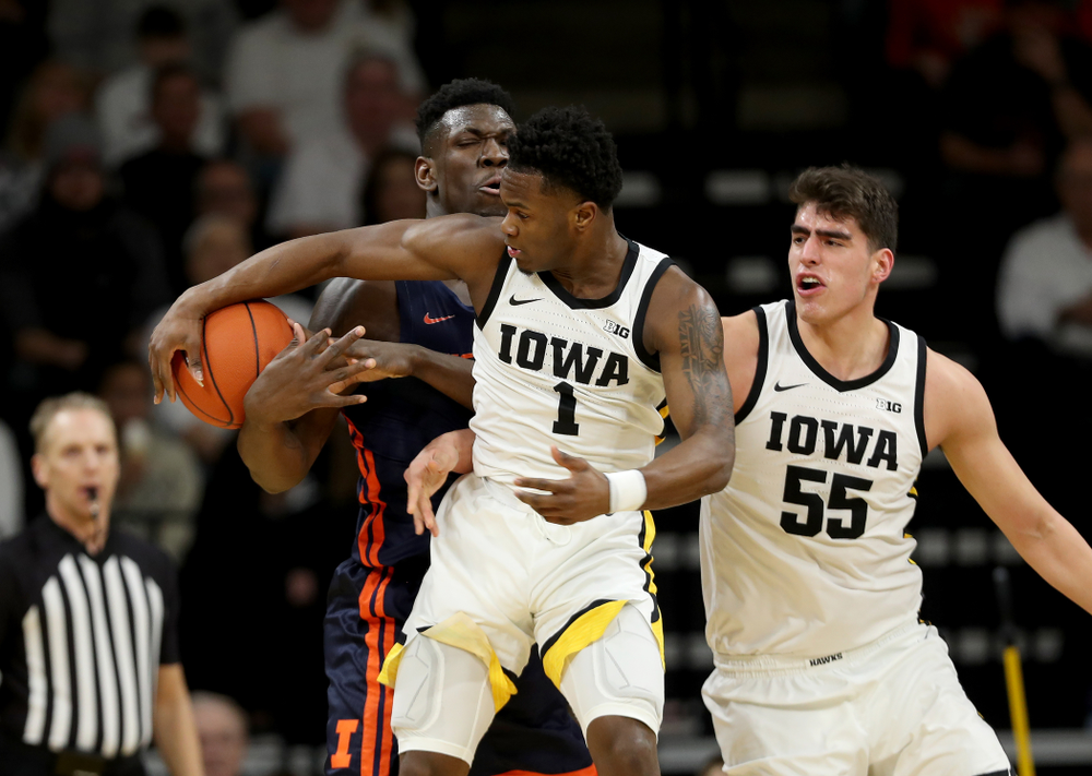 Iowa Hawkeyes guard Joe Toussaint (1) against the Illinois Fighting Illini Sunday, February 2, 2020 at Carver-Hawkeye Arena. (Brian Ray/hawkeyesports.com)