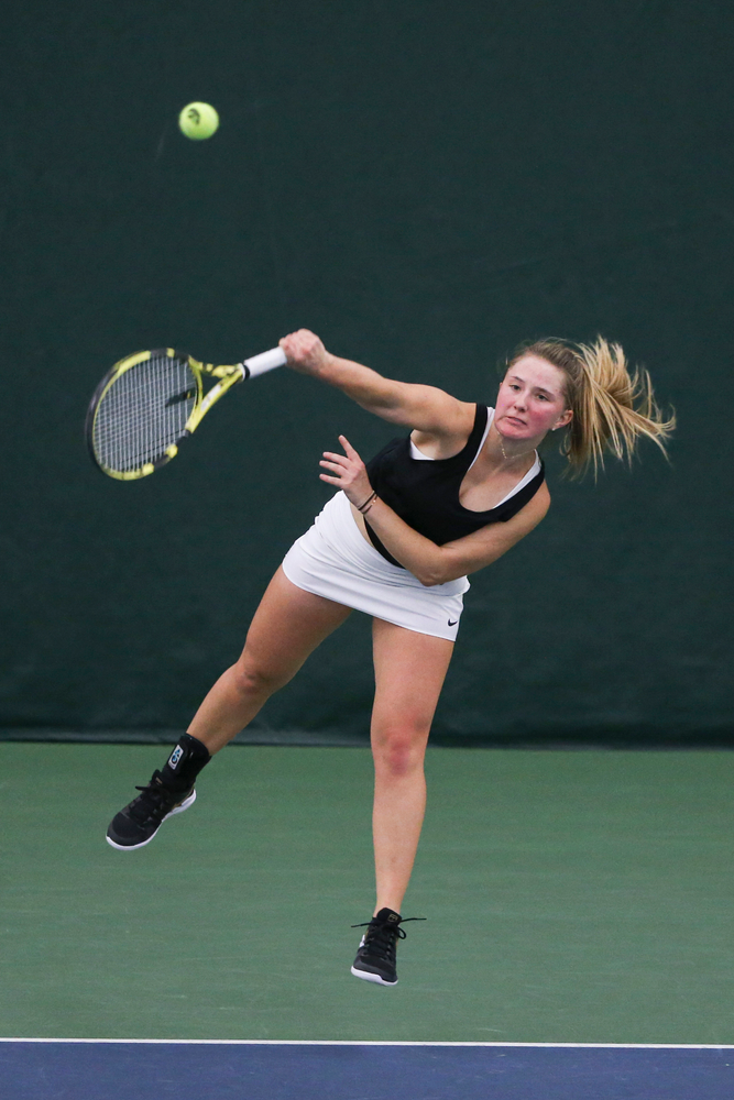 Iowa's Danielle Burich during the Iowa women's tennis meet vs DePaul  on Friday, February 21, 2020 at the Hawkeye Tennis and Recreation Complex. (Lily Smith/hawkeyesports.com)