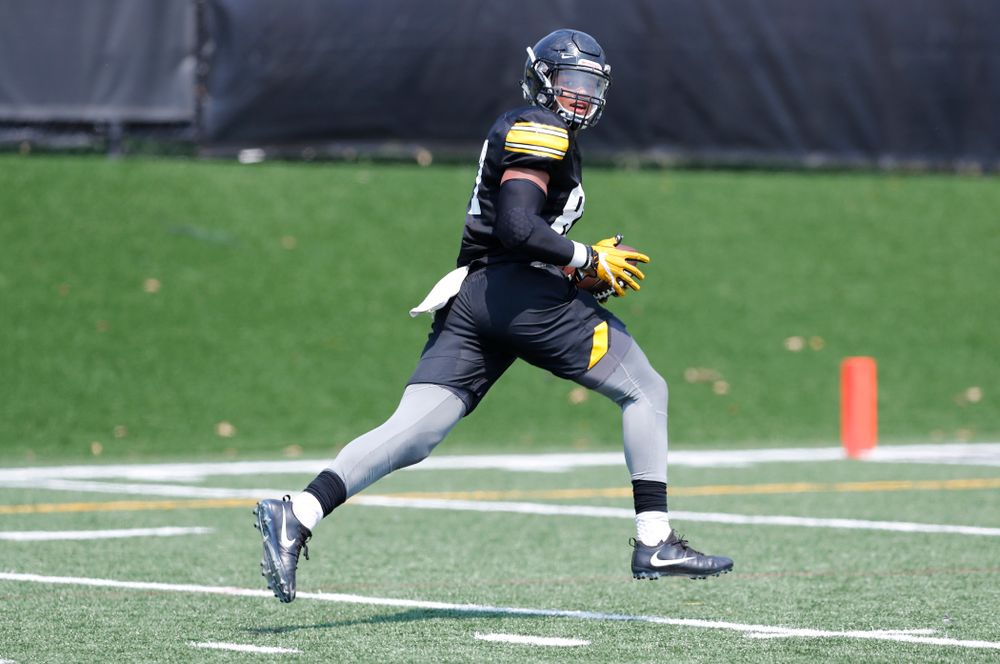 Iowa Hawkeyes tight end Noah Fant (87) during practice No. 7 of fall camp Friday, August 10, 2018 at the Kenyon Football Practice Facility. (Brian Ray/hawkeyesports.com)