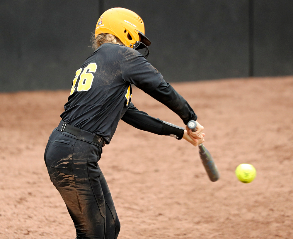 Iowa infielder Mia Ruther (26) bats during the sixth inning of their game against Iowa Softball vs Indian Hills Community College at Pearl Field in Iowa City on Sunday, Oct 6, 2019. (Stephen Mally/hawkeyesports.com)