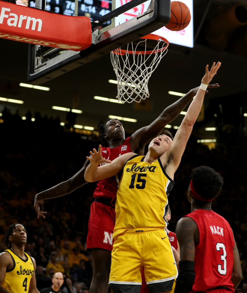 Iowa Hawkeyes forward Ryan Kriener (15) against the Nebraska Cornhuskers Saturday, February 8, 2020 at Carver-Hawkeye Arena. (Brian Ray/hawkeyesports.com)
