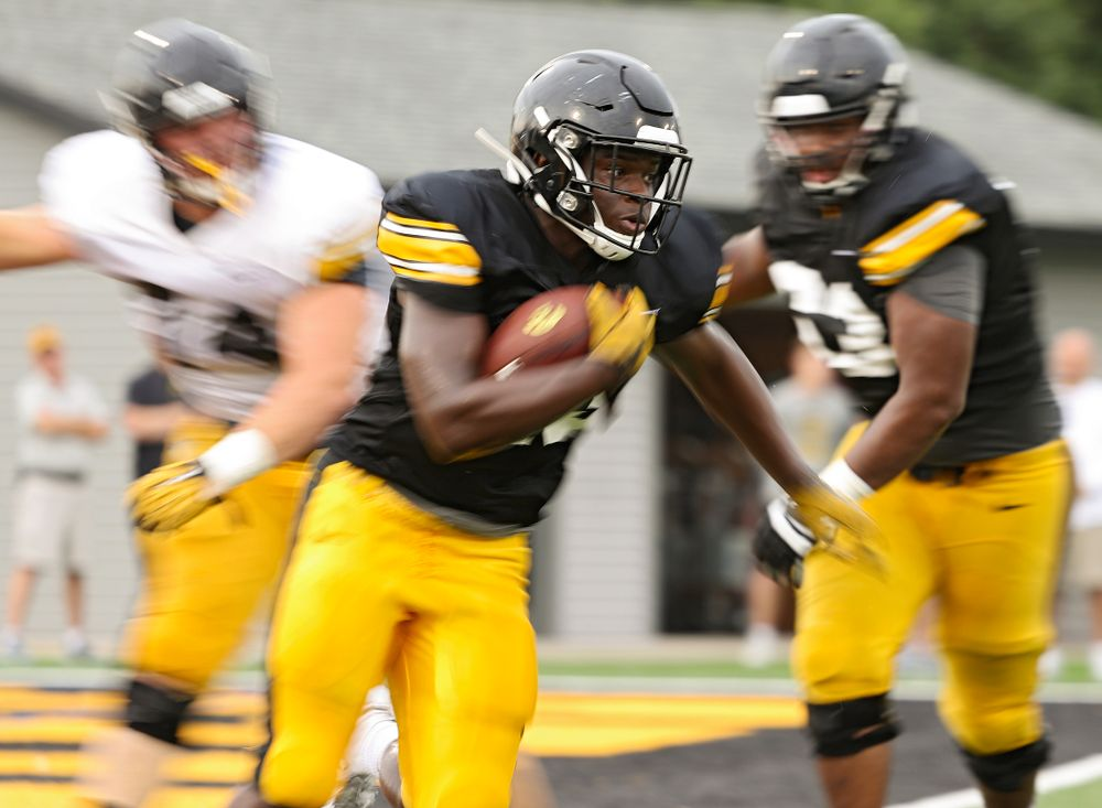 Iowa Hawkeyes running back Shadrick Byrd (23) looks for running room durning Fall Camp Practice No. 17 at the Hansen Football Performance Center in Iowa City on Wednesday, Aug 21, 2019. (Stephen Mally/hawkeyesports.com)