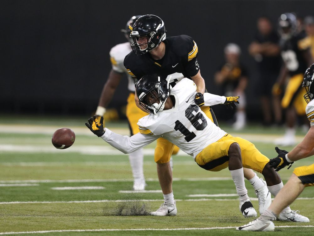 Iowa Hawkeyes defensive back Terry Roberts (16) During Fall Camp Practice No. 6 Thursday, August 8, 2019 at the Ronald D. and Margaret L. Kenyon Football Practice Facility. (Brian Ray/hawkeyesports.com)