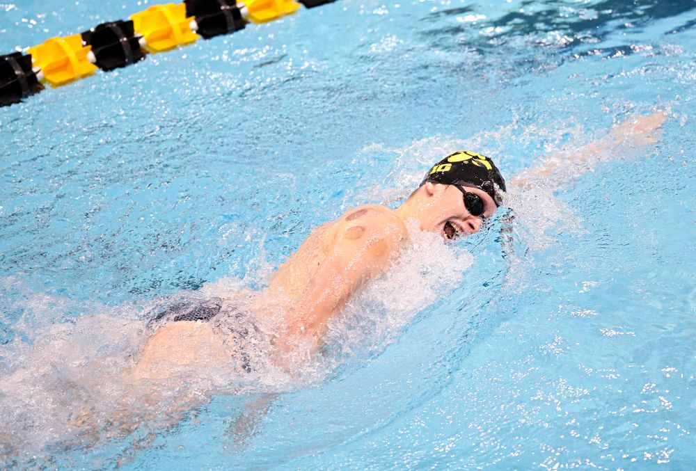 Iowa's Jacob Rosenkoetter swims the men's 200 yard freestyle event during their meet at the Campus Recreation and Wellness Center in Iowa City on Friday, February 7, 2020. (Stephen Mally/hawkeyesports.com)