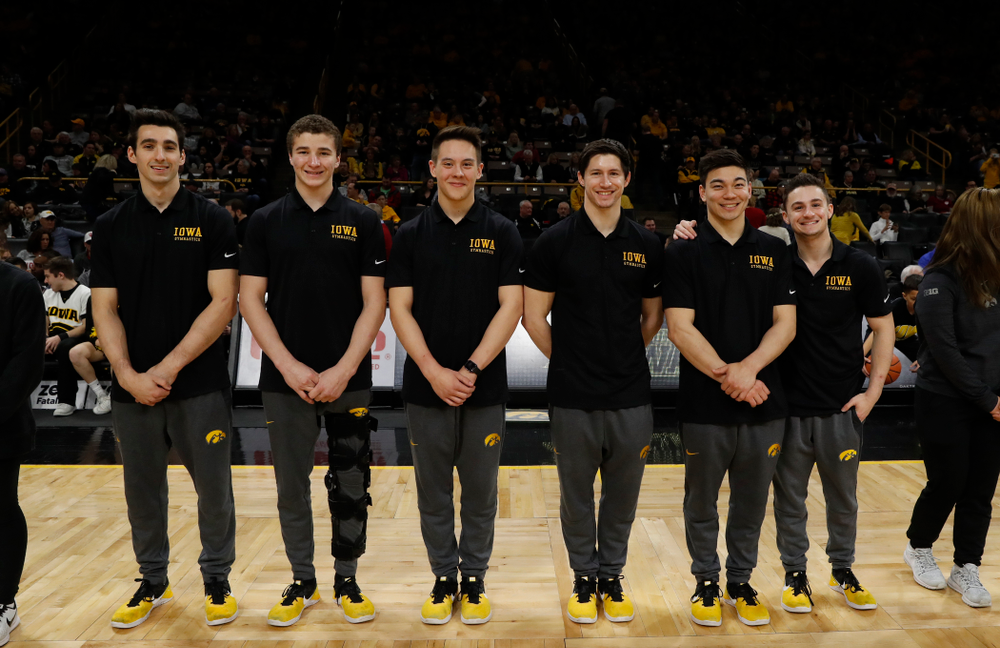Iowa Men's Gymnastics during the PCA recognition