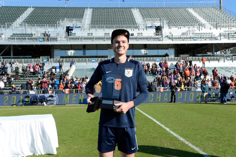 Virginia's Henry Kessler (5) is named Most Valuable Player during the 2019 ACC Men?s Soccer Championship at WakeMed Soccer Park in Cary, N.C., Sunday Nov. 17, 2019. (Photo by Sara D. Davis, the ACC)