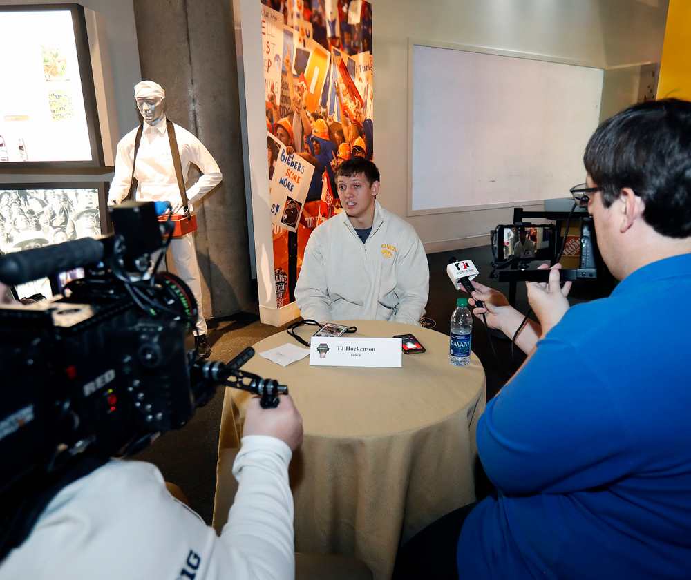 T.J. Hockenson is interviewed at the College Football Hall of Fame.