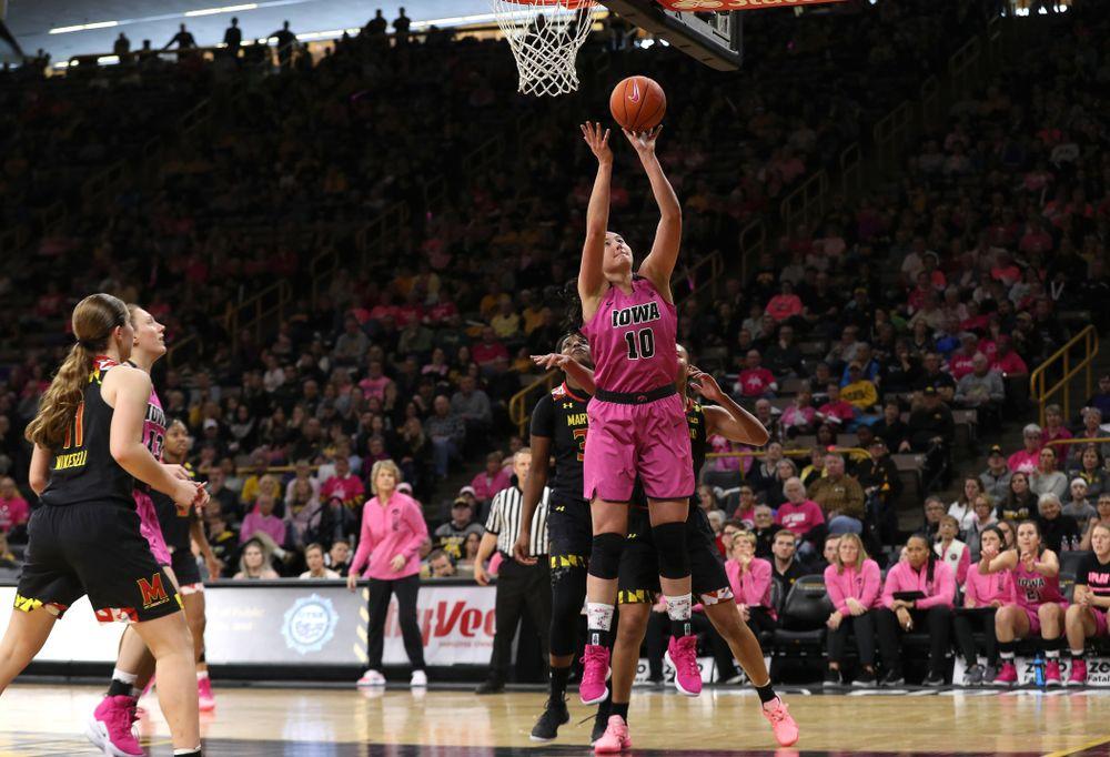 Iowa Hawkeyes forward Megan Gustafson (10) against the seventh ranked Maryland Terrapins Sunday, February 17, 2019 at Carver-Hawkeye Arena. (Brian Ray/hawkeyesports.com)