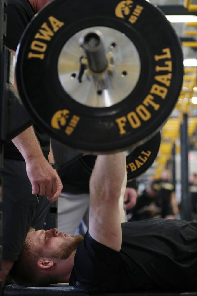 Iowa Hawkeyes defensive back Jake Gervase (30) during the teamÕs annual Pro Day Monday, March 25, 2019 at the Hansen Football Performance Center. (Brian Ray/hawkeyesports.com)