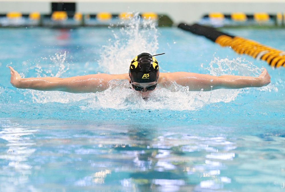Iowa's Kelsey Drake swims the women's 200 yard butterfly consolation final event during the 2020 Women's Big Ten Swimming and Diving Championships at the Campus Recreation and Wellness Center in Iowa City on Saturday, February 22, 2020. (Stephen Mally/hawkeyesports.com)