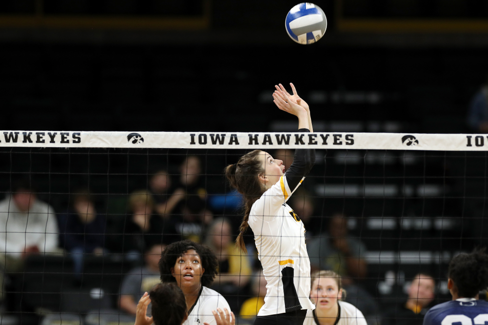 Iowa Hawkeyes setter Courtney Buzzerio (2) against Penn State Friday, November 1, 2019 at Carver Hawkeye Arena. (Brian Ray/hawkeyesports.com)