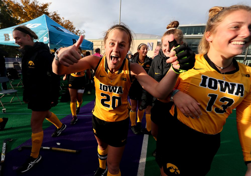 Iowa Hawkeyes Sophie Sunderland (20) celebrates their victory against the Michigan Wolverines in the semi-finals of the Big Ten Tournament Friday, November 2, 2018 at Lakeside Field on the campus of Northwestern University in Evanston, Ill. (Brian Ray/hawkeyesports.com)