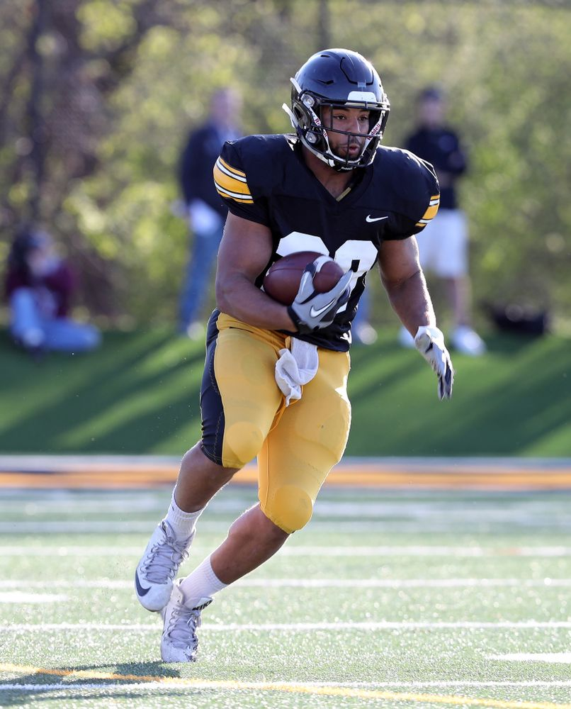 Iowa Hawkeyes running back Toren Young (28) during the teamÕs final spring practice Friday, April 26, 2019 at the Kenyon Football Practice Facility. (Brian Ray/hawkeyesports.com)