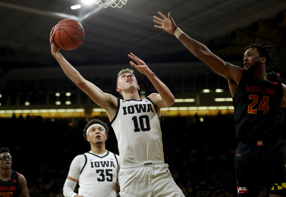 Iowa Hawkeyes guard Joe Wieskamp (10) against the Maryland Terrapins Friday, January 10, 2020 at Carver-Hawkeye Arena. (Brian Ray/hawkeyesports.com)
