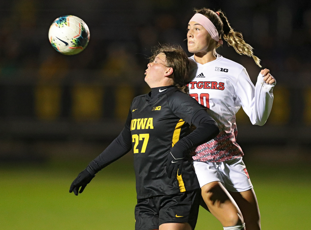 Iowa forward Samantha Tawharu (27) eyes the ball during the first half of their match at the Iowa Soccer Complex in Iowa City on Friday, Oct 11, 2019. (Stephen Mally/hawkeyesports.com)