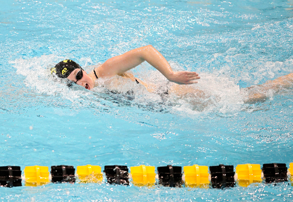 Iowa's Kelsey Drake swims the women's 200 yard freestyle event during their meet at the Campus Recreation and Wellness Center in Iowa City on Friday, February 7, 2020. (Stephen Mally/hawkeyesports.com)