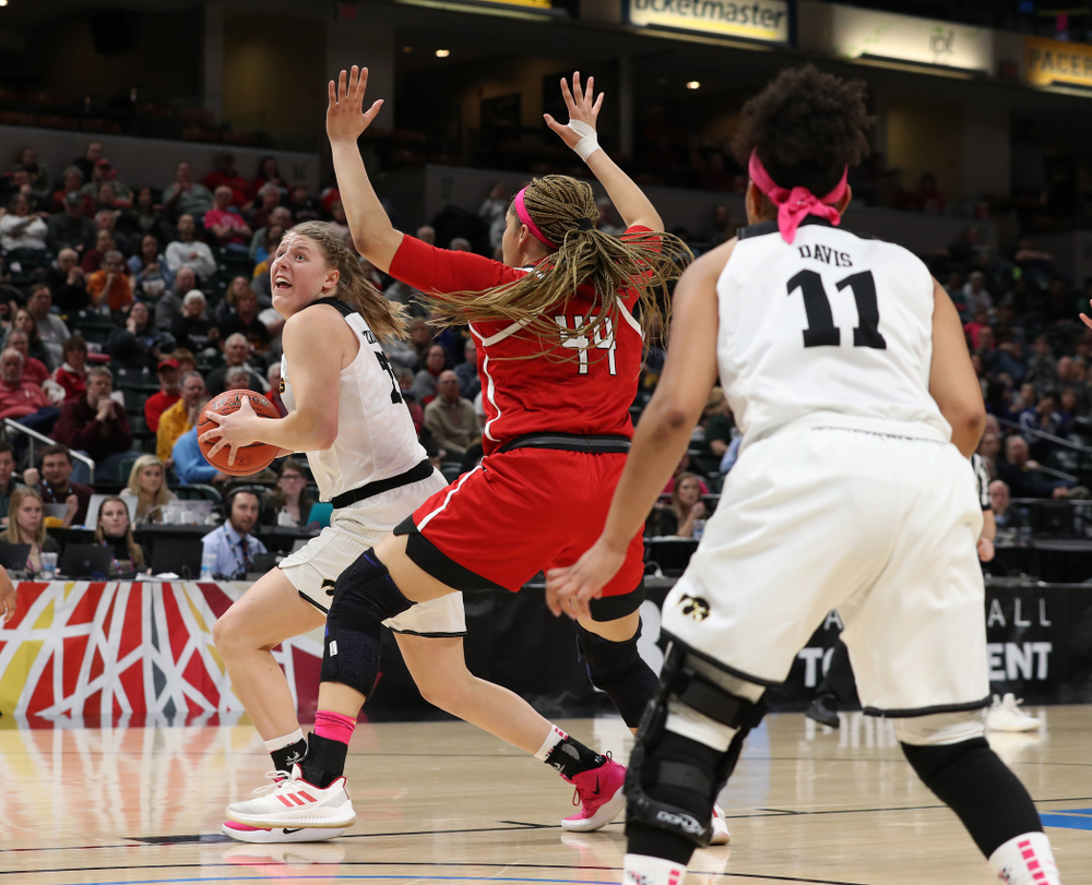 Iowa Hawkeyes center Monika Czinano (25) against the Rutgers Scarlet Knights in the semi-finals of the Big Ten Tournament Saturday, March 9, 2019 at Bankers Life Fieldhouse in Indianapolis, Ind. (Brian Ray/hawkeyesports.com)