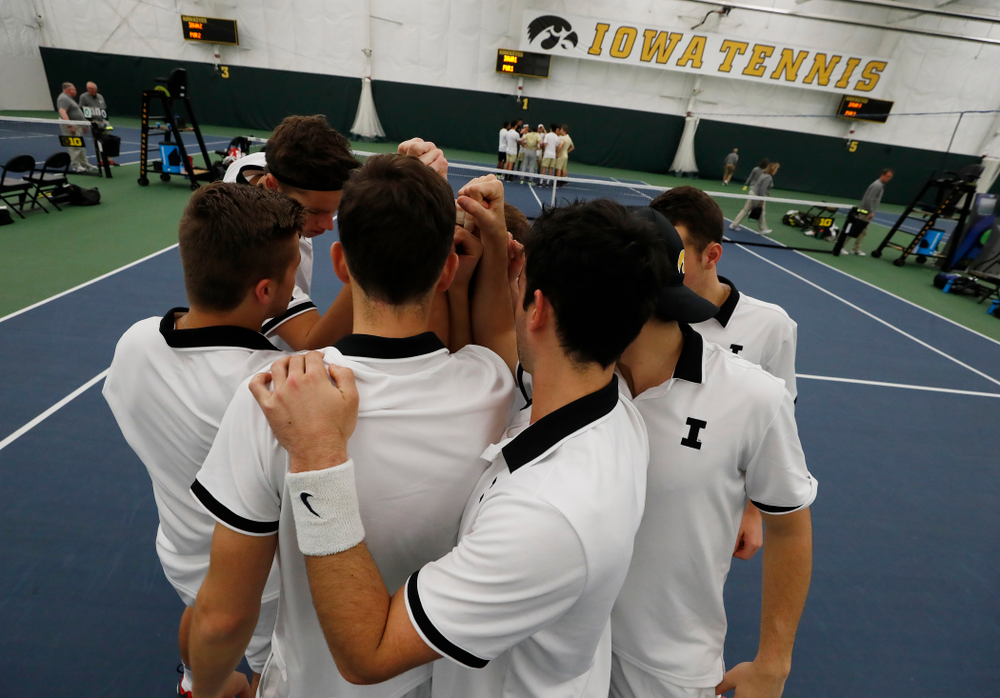 The Iowa Hawkeyes before their match against Purdue Sunday, April 15, 2018 at the Hawkeye Tennis and Recreation Center. (Brian Ray/hawkeyesports.com)