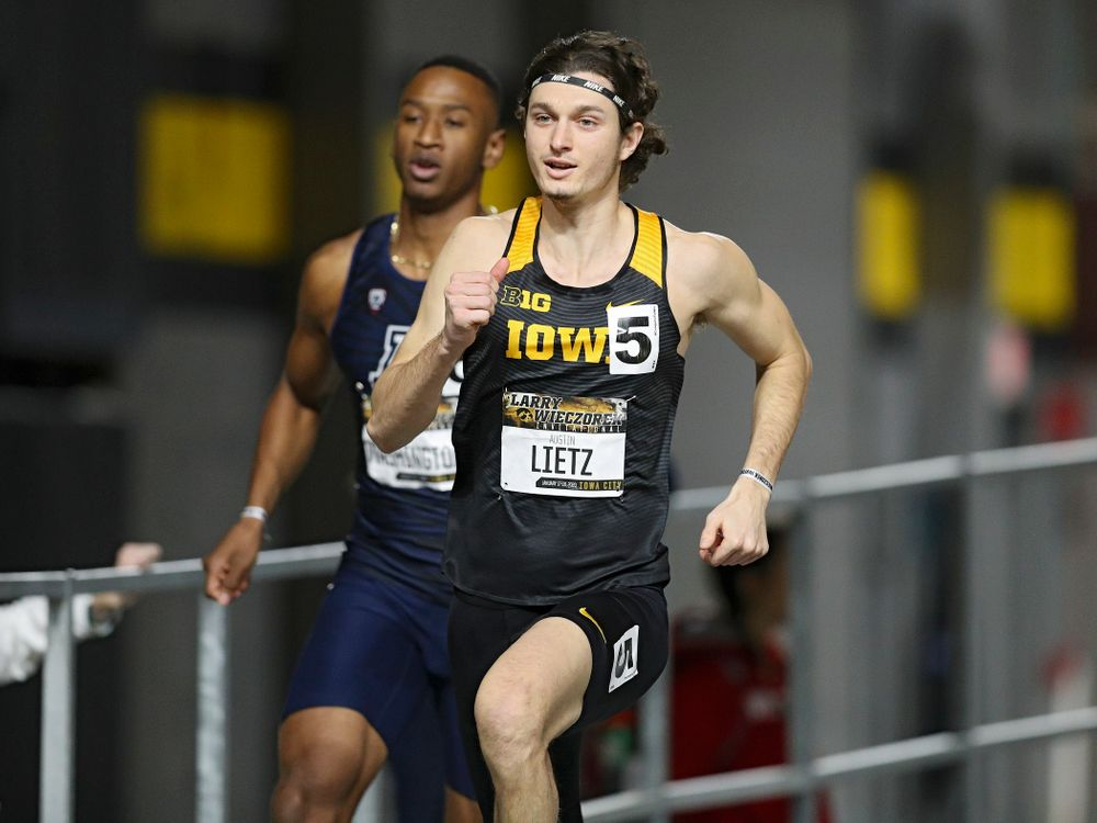 Iowa's Austin Lietz runs the men's 600 meter run premier event during the Larry Wieczorek Invitational at the Recreation Building in Iowa City on Friday, January 17, 2020. (Stephen Mally/hawkeyesports.com)