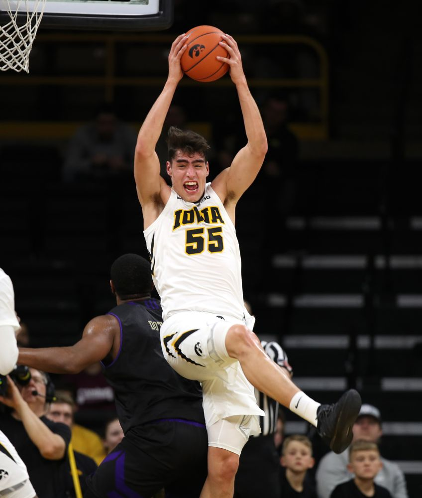 Iowa Hawkeyes forward Luka Garza (55) against the Western Carolina Catamounts Tuesday, December 18, 2018 at Carver-Hawkeye Arena. (Brian Ray/hawkeyesports.com)