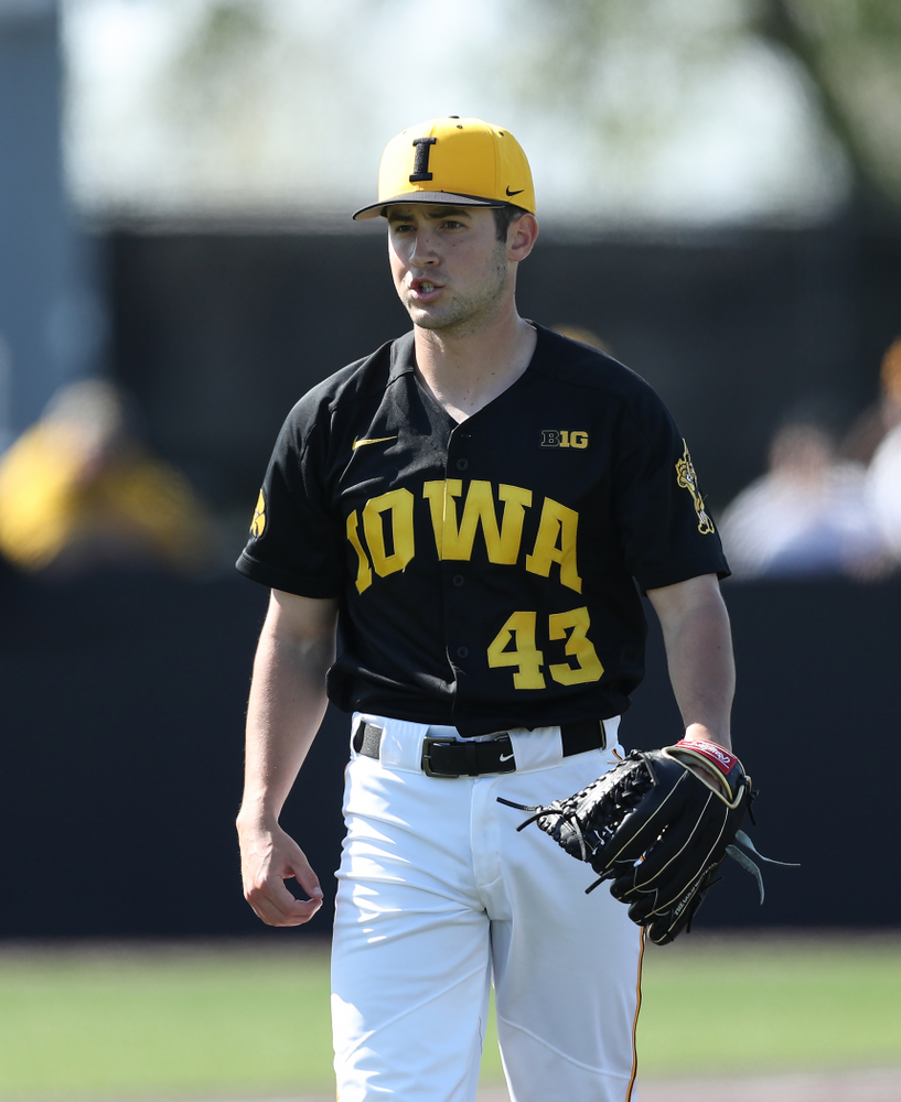 Iowa Hawkeyes Grant Leonard (43) reacts after getting a strikeout to end the 8th inning during game two against UC Irvine Saturday, May 4, 2019 at Duane Banks Field. (Brian Ray/hawkeyesports.com)