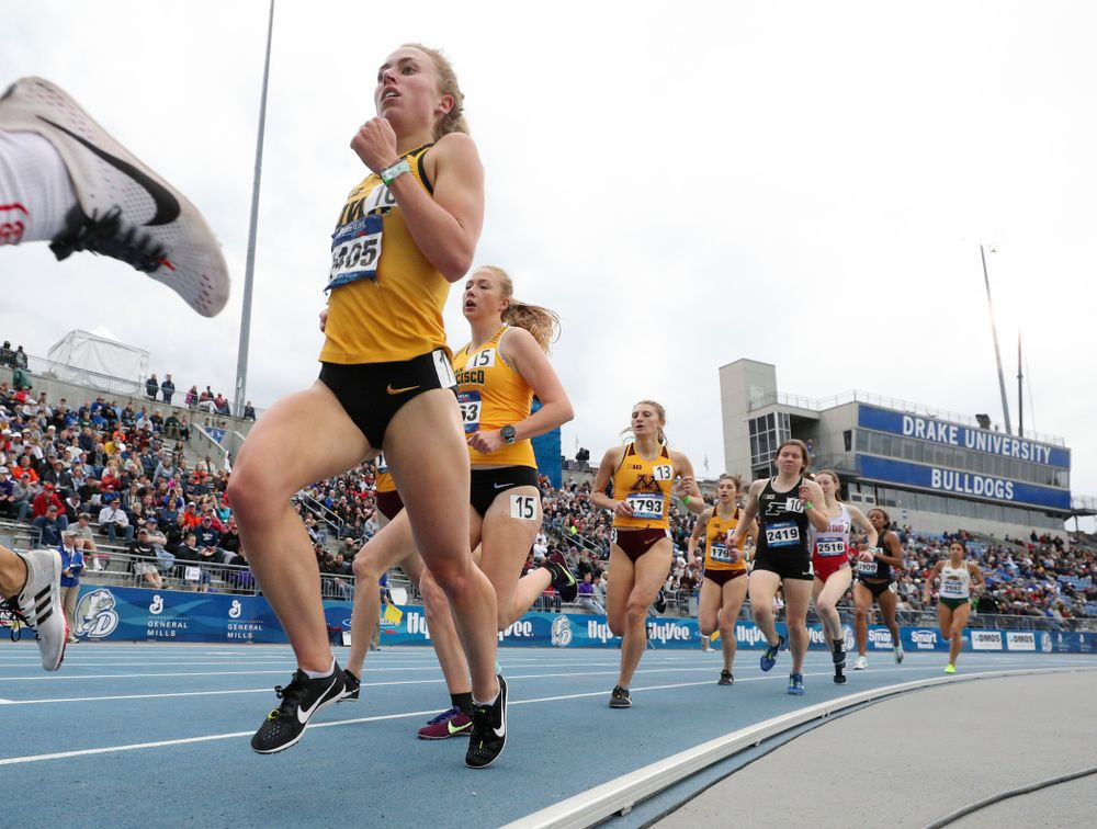 Iowa's Megan Schott runs the women's 1500 meter run event during the second day of the Drake Relays at Drake Stadium in Des Moines on Friday, Apr. 26, 2019. (Stephen Mally/hawkeyesports.com)
