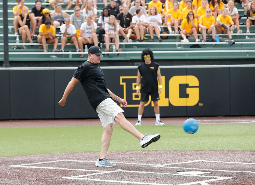 Head Baseball Coach Rick Heller during the Iowa Student Athlete Kickoff Kickball game  Sunday, August 19, 2018 at Duane Banks Field. (Brian Ray/hawkeyesports.com)