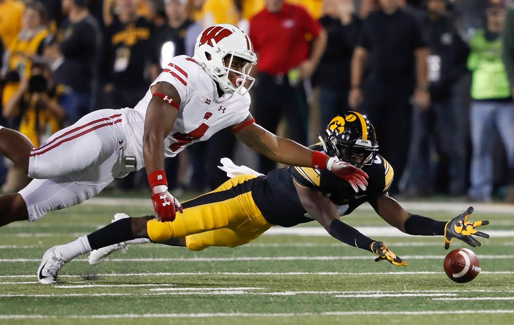 Iowa Hawkeyes defensive back Matt Hankins (8) dives for a pass during a game against Wisconsin at Kinnick Stadium on September 22, 2018. (Tork Mason/hawkeyesports.com)