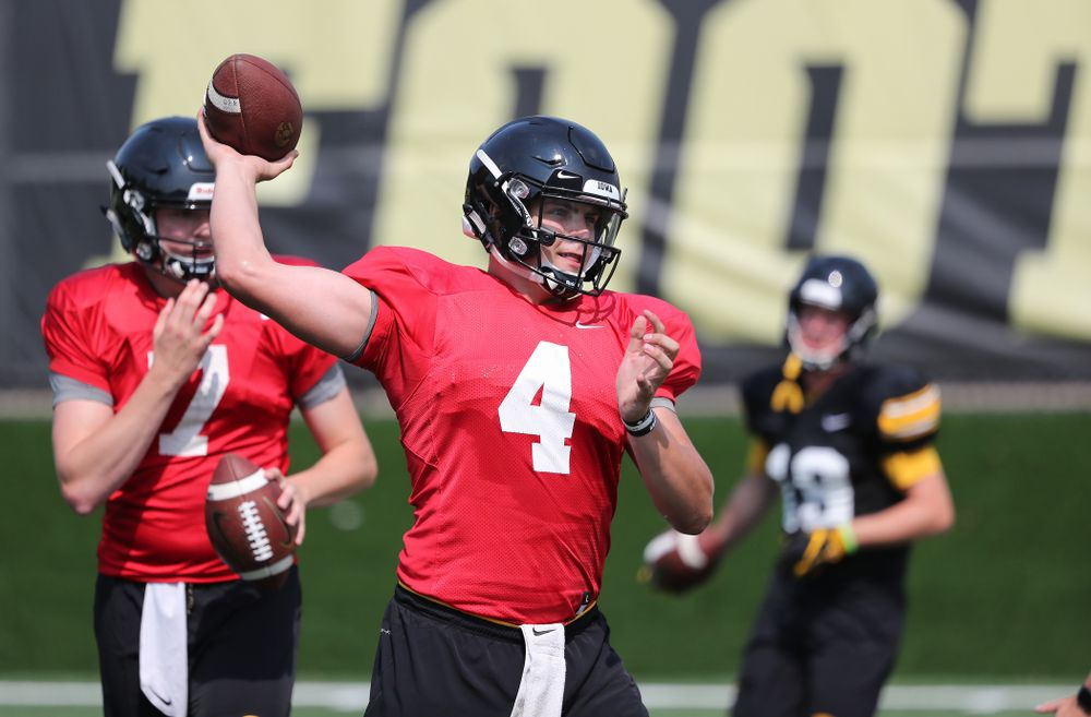 Iowa Hawkeyes quarterback Nathan Stanley (4) during the third practice of fall camp Sunday, August 5, 2018 at the Kenyon Football Practice Facility. (Brian Ray/hawkeyesports.com)