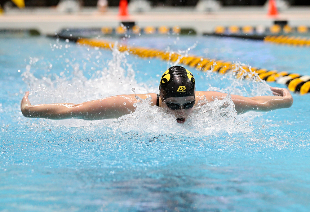 Iowa's Kelsey Drake swims the butterfly section of the women's 400 yard medley relay event during the 2020 Women's Big Ten Swimming and Diving Championships at the Campus Recreation and Wellness Center in Iowa City on Thursday, February 20, 2020. (Stephen Mally/hawkeyesports.com)