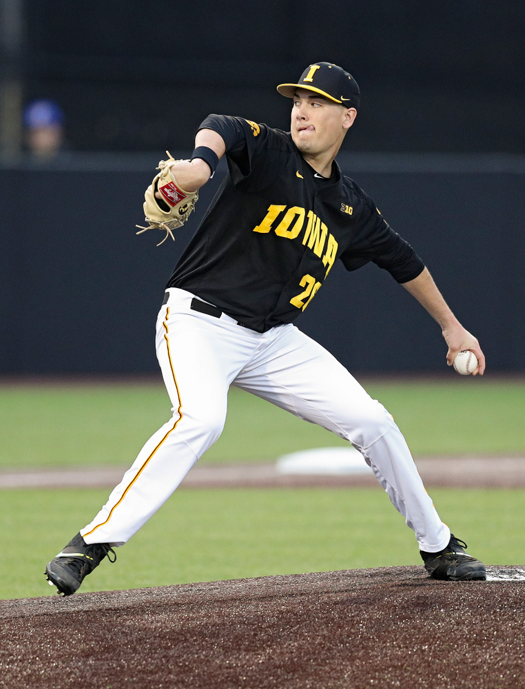 Iowa pitcher Adam Ketelsen (26) delivers to the plate during the ninth inning of their college baseball game at Duane Banks Field in Iowa City on Tuesday, March 10, 2020. (Stephen Mally/hawkeyesports.com)