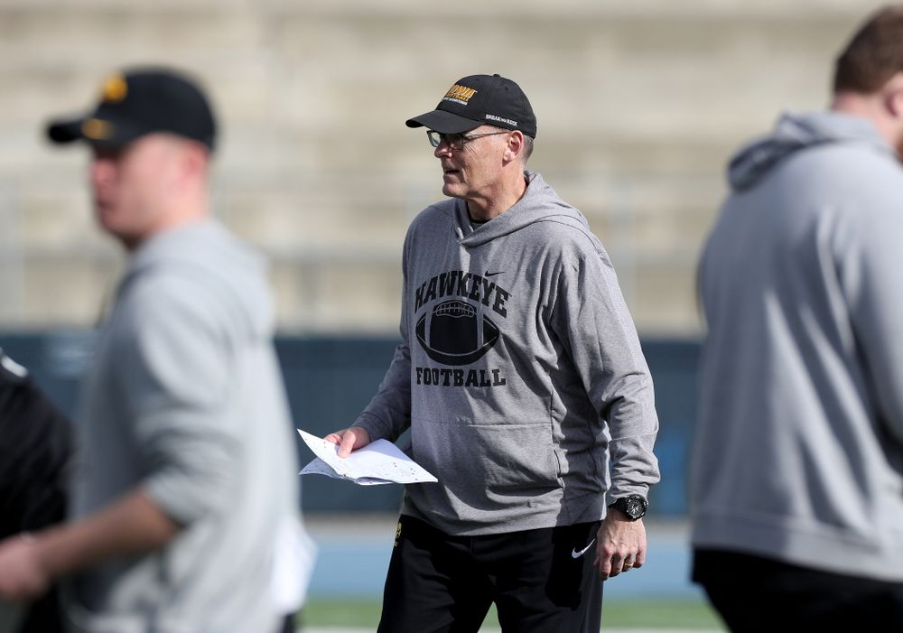 Iowa Hawkeyes assistant defensive line coach Jay Niemann during Holiday Bowl Practice No. 3  Tuesday, December 24, 2019 at San Diego Mesa College. (Brian Ray/hawkeyesports.com)
