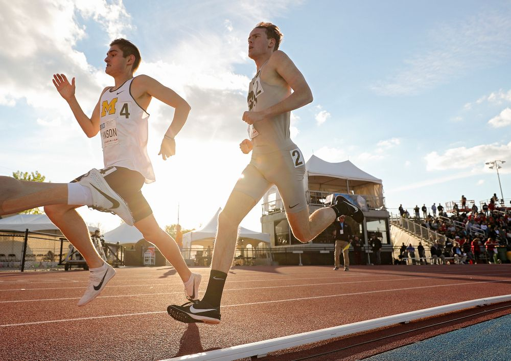 Iowa's Jeff Roberts runs the men's 1500 meter event on the first day of the Big Ten Outdoor Track and Field Championships at Francis X. Cretzmeyer Track in Iowa City on Friday, May. 10, 2019. (Stephen Mally/hawkeyesports.com)