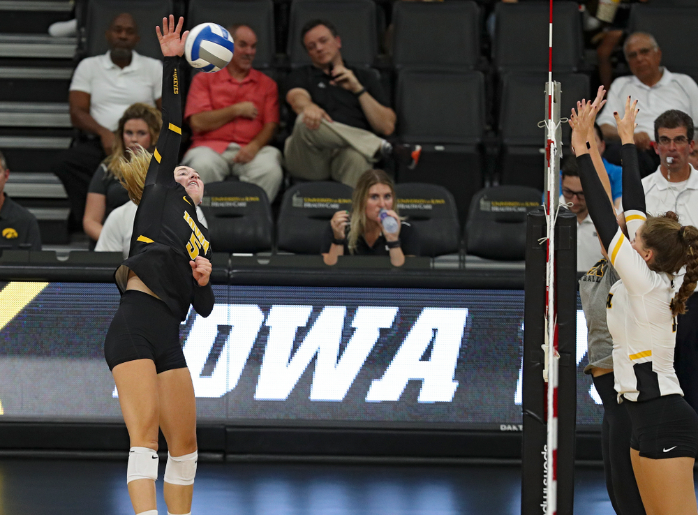 Iowa's Meghan Buzzerio (5) during the second set of the Black and Gold scrimmage at Carver-Hawkeye Arena in Iowa City on Saturday, Aug 24, 2019. (Stephen Mally/hawkeyesports.com)