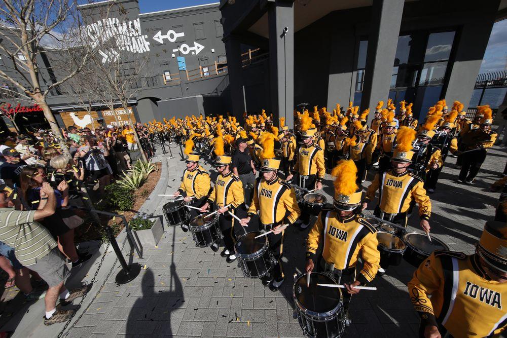 The Hawkeye Marching Band at Hawkeye Huddle Monday, December 31, 2018 at Sparkman Wharf in Tampa, FL. (Brian Ray/hawkeyesports.com)