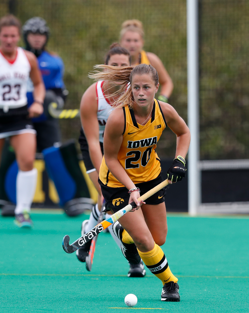 Iowa Hawkeyes Sophie Sunderland (20) against Ball State Sunday, September 2, 2018 at Grant Field. (Brian Ray/hawkeyesports.com)