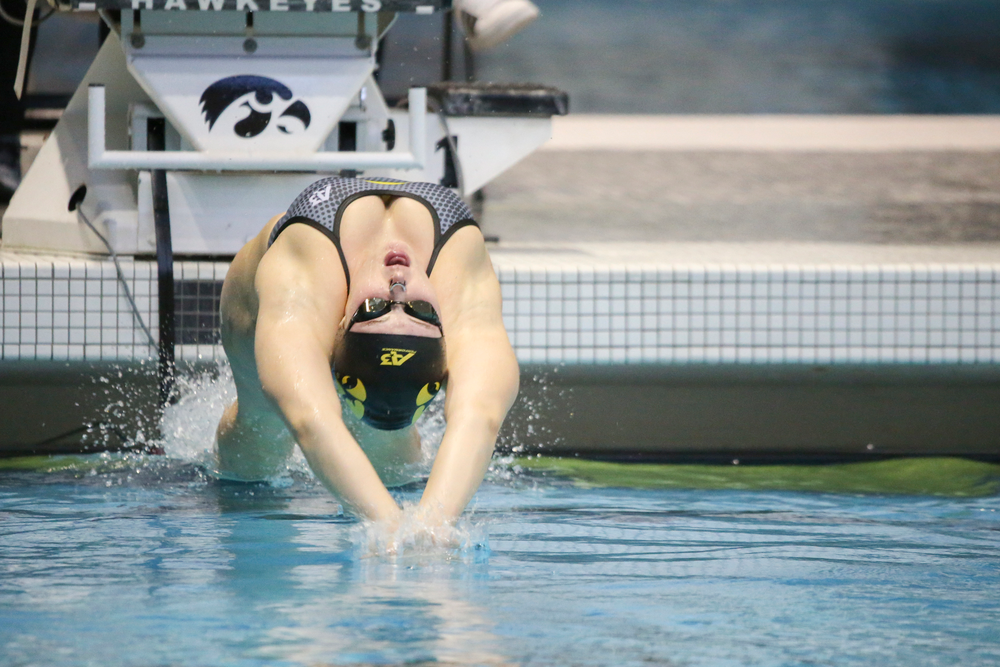 Georgia Clark during Iowa women's swimming and diving vs Rutgers on Friday, November 8, 2019 at the Campus Wellness and Recreation Center. (Lily Smith/hawkeyesports.com)