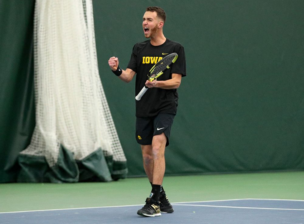 Iowa's Kareem Allaf celebrates during his doubles match at the Hawkeye Tennis and Recreation Complex in Iowa City on Friday, February 14, 2020. (Stephen Mally/hawkeyesports.com)