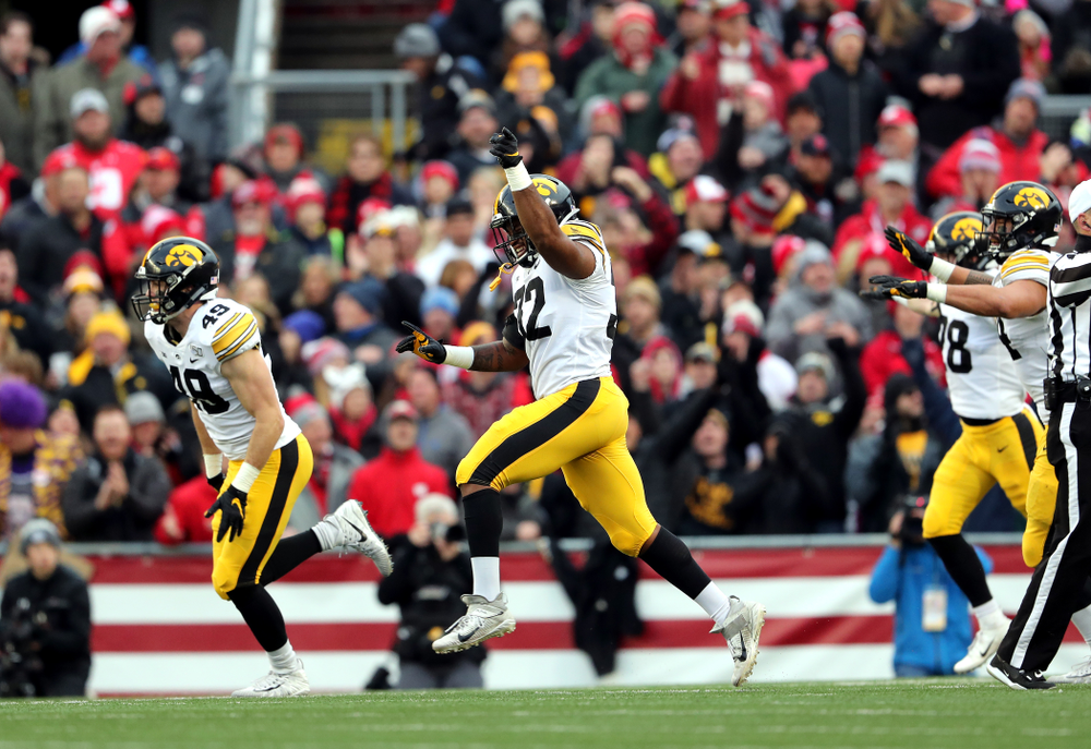 Iowa Hawkeyes linebacker Djimon Colbert (32) against the Wisconsin Badgers Saturday, November 9, 2019 at Camp Randall Stadium in Madison, Wisc. (Brian Ray/hawkeyesports.com)