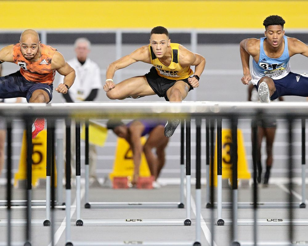 Iowa's Jamal Britt runs the men's 60 meter hurdles event during the Hawkeye Invitational at the Recreation Building in Iowa City on Saturday, January 11, 2020. (Stephen Mally/hawkeyesports.com)