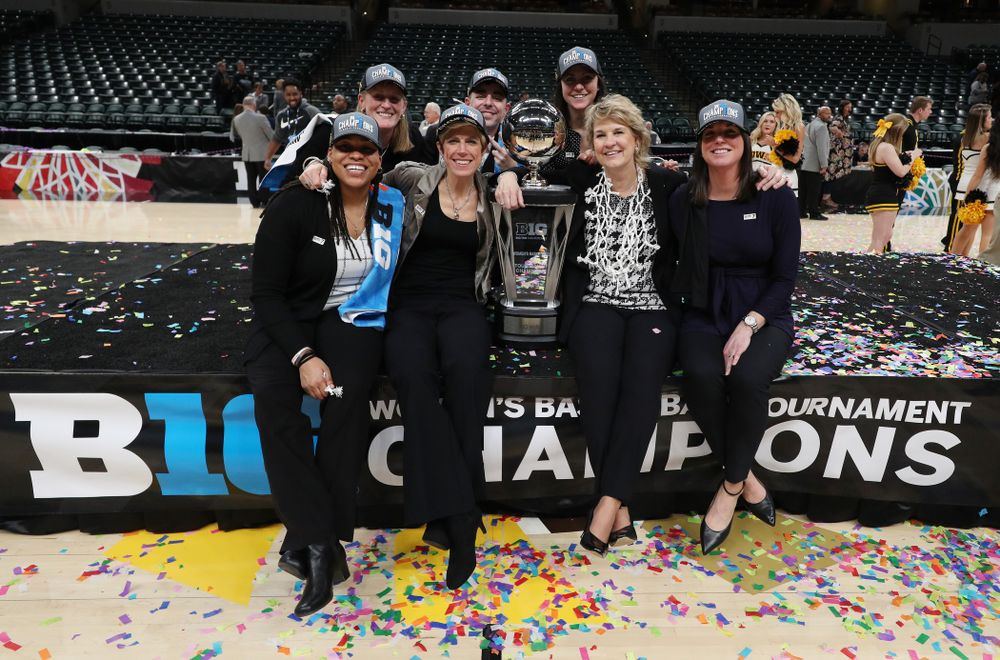 The Iowa Women's Basketball Coaching Staff against the Maryland Terrapins Sunday, March 10, 2019 at Bankers Life Fieldhouse in Indianapolis, Ind. (Brian Ray/hawkeyesports.com)