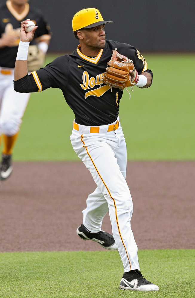 Iowa Hawkeyes third baseman Lorenzo Elion (1) throws to first for an out during the fourth inning of their game against Illinois State at Duane Banks Field in Iowa City on Wednesday, Apr. 3, 2019. (Stephen Mally/hawkeyesports.com)