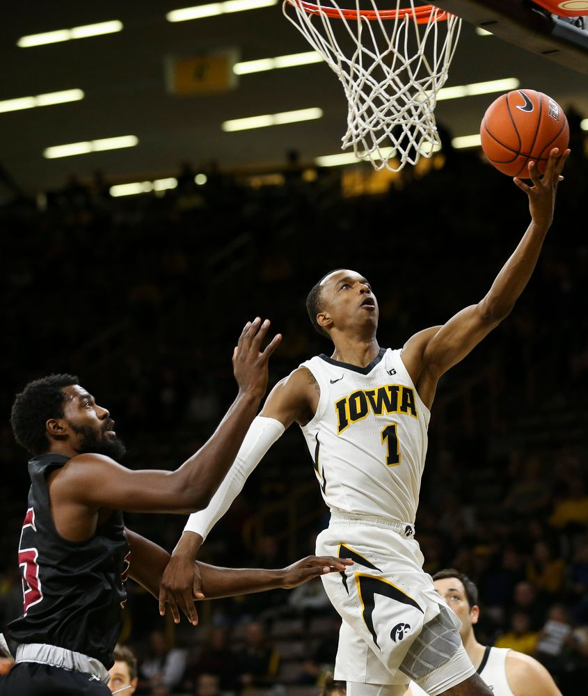 Iowa Hawkeyes guard Maishe Dailey (1) goes up for a layup during a game against Guilford College at Carver-Hawkeye Arena on November 4, 2018. (Tork Mason/hawkeyesports.com)